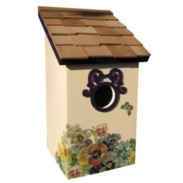 Printed Saltbox Birdhouse Butterfly Plum