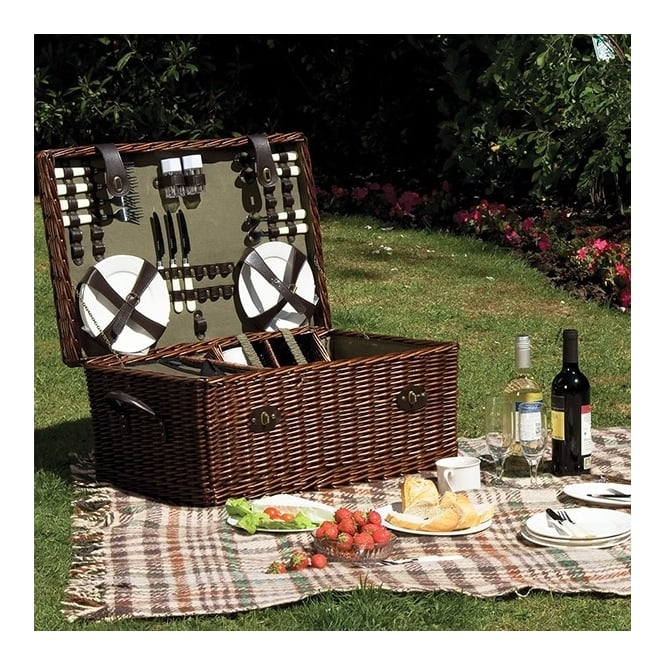 Lifestyle Rectangular Willow Picnic Hamper 6 Person