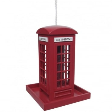 Red Telephone Box Bird Feeder