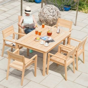 Roble Tivoli Rectangular 6 Seater Dining Set