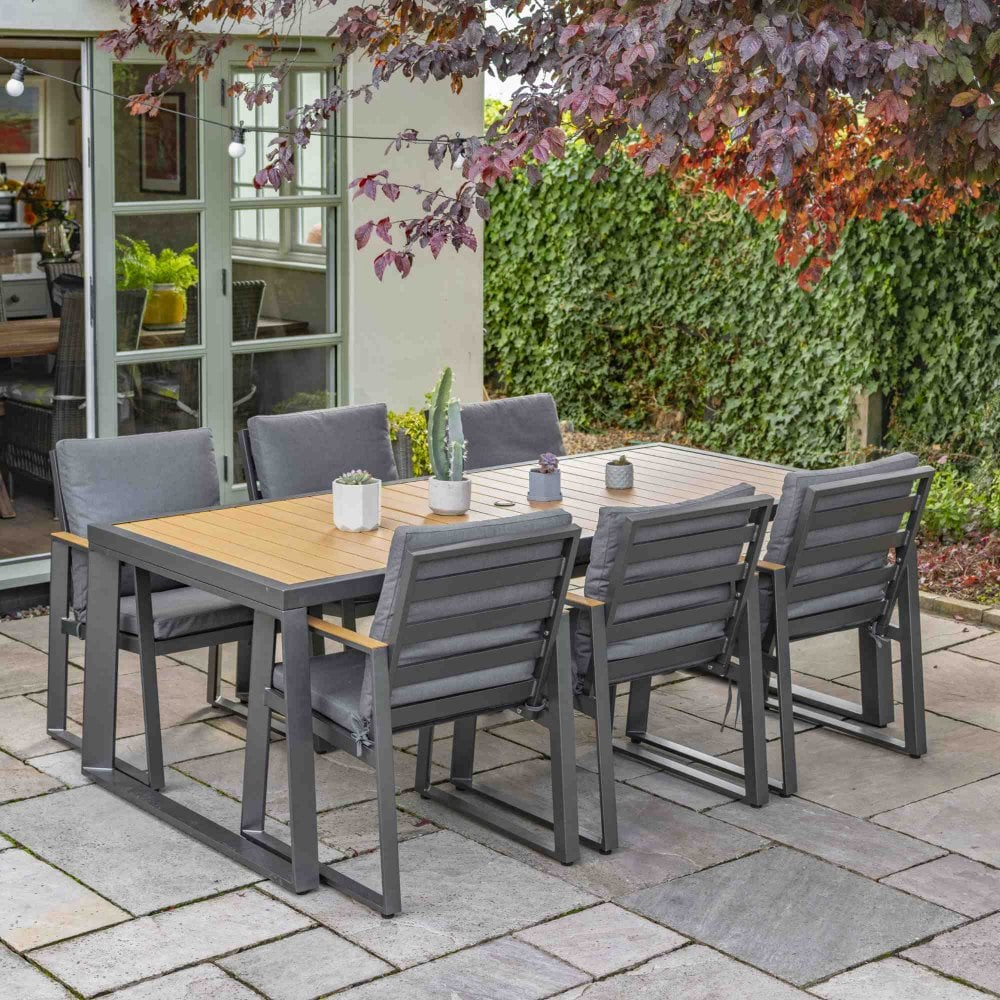 LG Outdoor Roma 6 Seater Dining Set With Parasol And Base ...