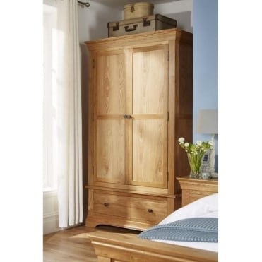 Breton Solid Oak 2 Door Wardrobe with Drawer