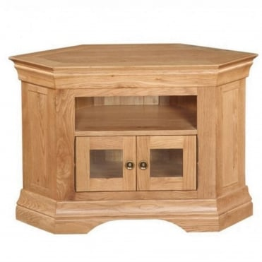 Breton Solid Oak Corner TV Cabinet