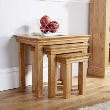 Breton Solid Oak Nest of Tables