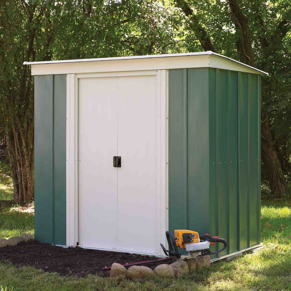 Rowlinson greenvale metal pent shed 6x4 garden street for Garden shed 6 x 4