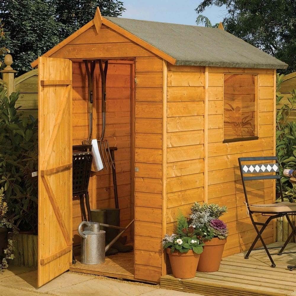 Rowlinson modular shiplap apex shed 4x6 garden street for Garden shed 4x6