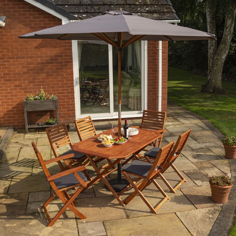 plumley hardwood 6 seater dining set - Garden Furniture 6 Seater