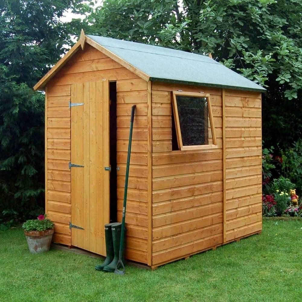 Rowlinson premier shiplap apex shed 5x7 garden street for Garden shed 5x7