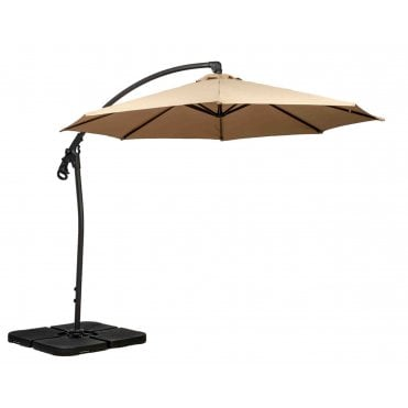 3m Round Deluxe Rotational Cantilever Parasol with Cross Stand