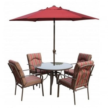 Amalfi 6pc Round Dining Set with Parasol