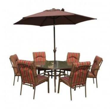 Amalfi 8pc Hexagonal Dining Set with Parasol