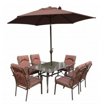 Amalfi 8pc Rectangular Dining Set with Parasol