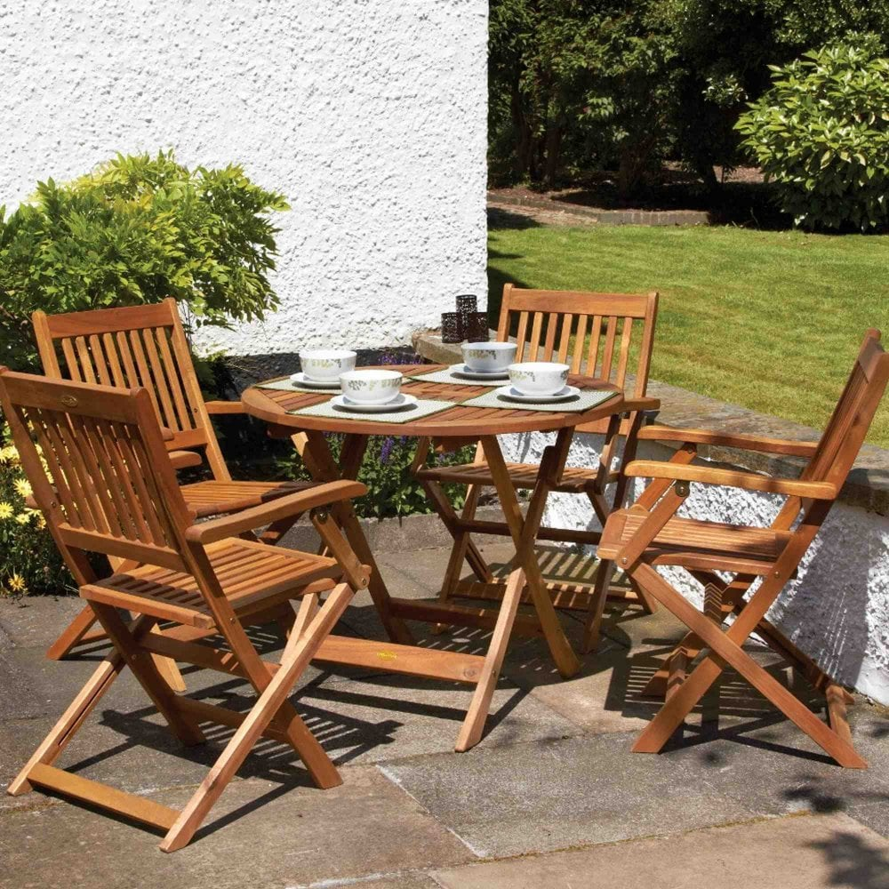 Royalcraft Manhattan Dining Set With Folding Armchairs | Garden Street