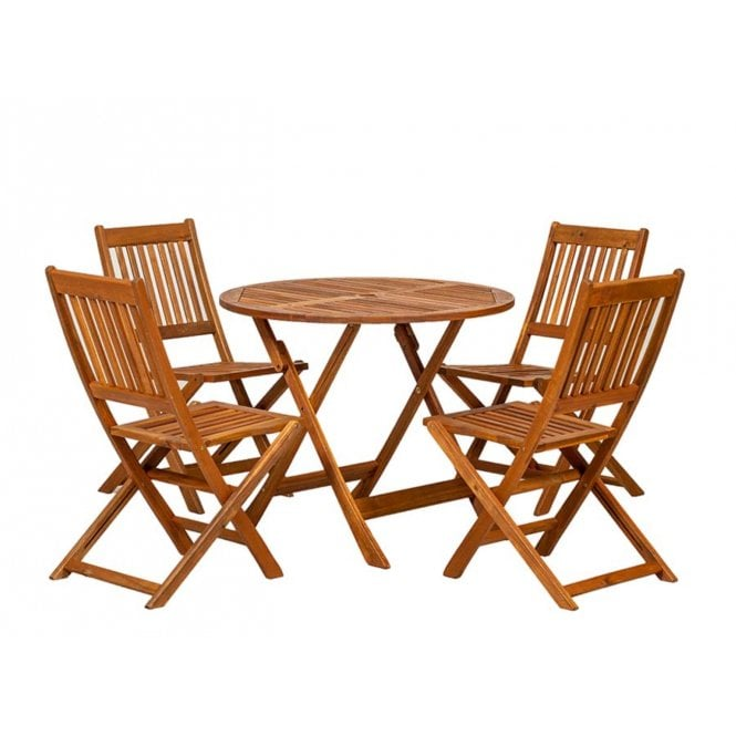 Royalcraft Manhattan Round 4 Seater Dining Set With Folding Chairs