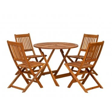 Manhattan Round 4 Seater Dining Set With Folding Chairs