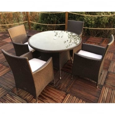 Naples 4 Seater Round Dining Set