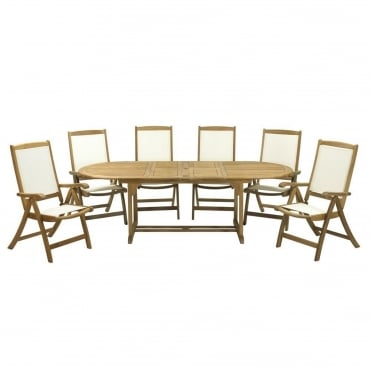 St Tropez Round/Oval Extending 6 Seater Teak Dining Set