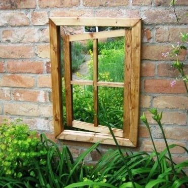 Rustic Stained Oak Window Ajar Garden Mirror