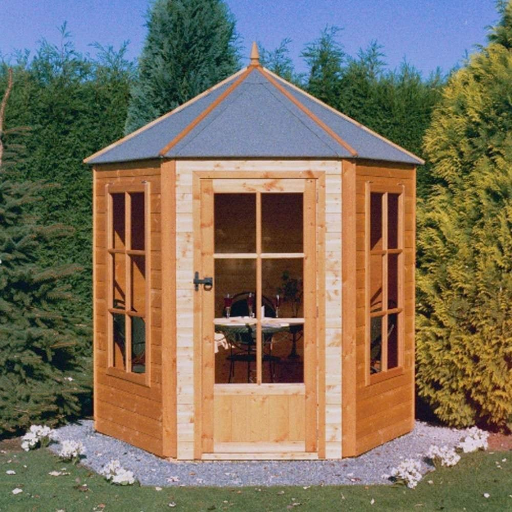 Shire hexagonal summerhouse 7x6 garden street for Garden shed 7x6