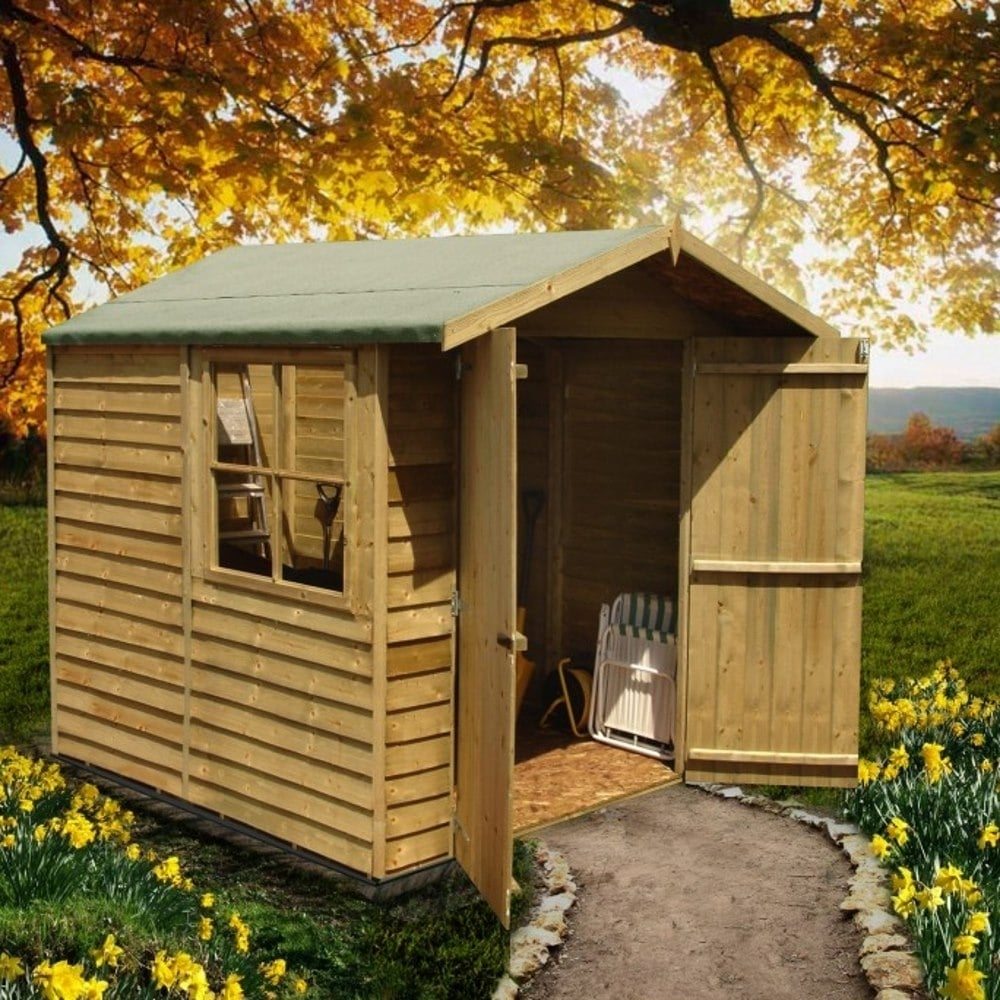 Shire overlap apex pressure treated shed 7x7 garden street for Garden shed 7x7