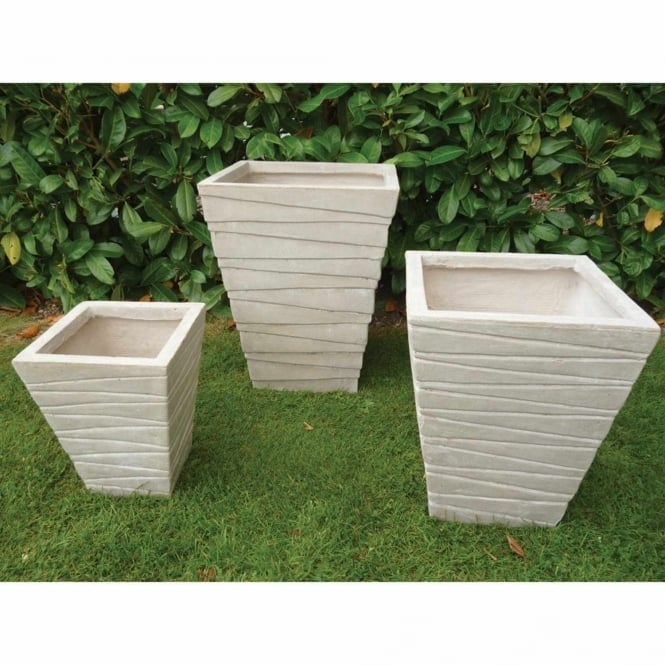 The Garden Feature Company Short Tapered Ridged Sand Set of 3 Planters