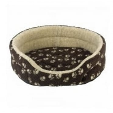 Verona Oval Brown with Cream Paw Pet Bed