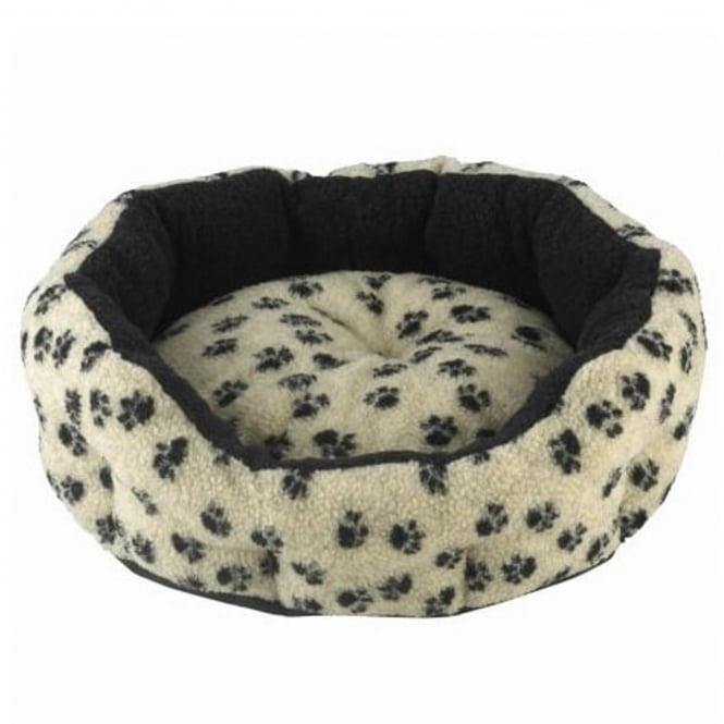 Snug & Cosy Verona Oval Cream with Black Paw Pet Bed