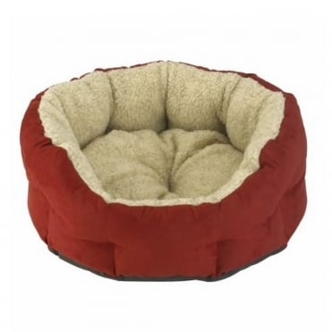 Verona Oval Red Berry with Cream Fleece Pet Bed
