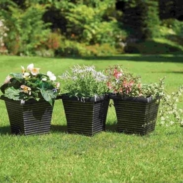 Square Tapered Ripple Planters - Pack of Three