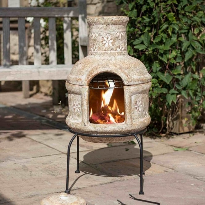 La Hacienda Star Flower Small Chimenea With Grill