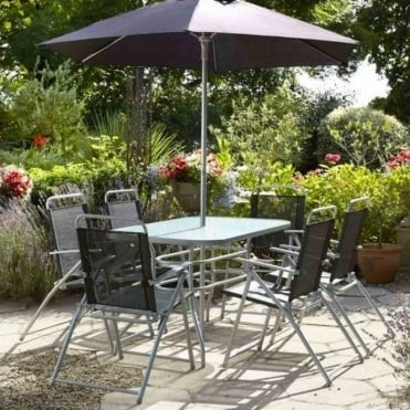 Steel Textilene Mix 6 Seater Dining Set