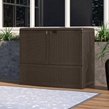 Resin Wicker Vertical Deck Box With Shelf 738L