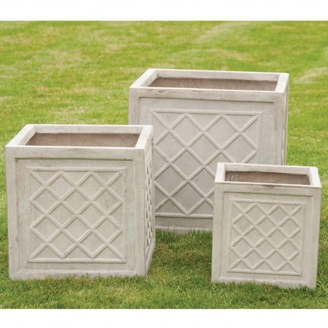 The Garden Feature Company Classic Square with Lattice Detail Sand Set of 3 Planters