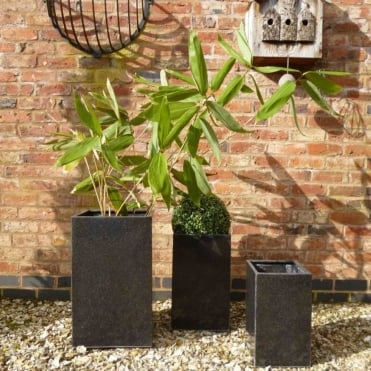 Granite Lite Tall Cube Set of 3 Planters Black