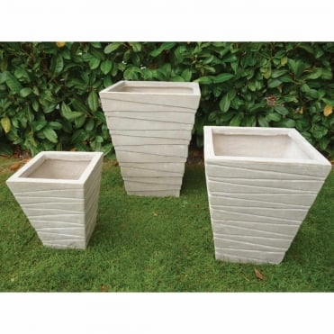 Short Tapered Ridged Sand Set of 3 Planters