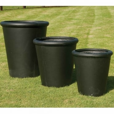 Smooth Round Rimmed Set of 3 Planters