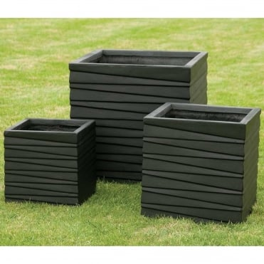 Square Ridged Black Set of 3 Planters