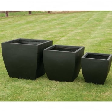 Tapered Square Low Black Set of 4 Planters
