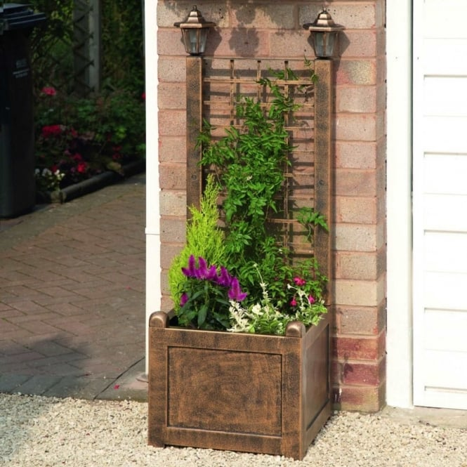 Greenhurst Trellis Planter With Solar Lanterns