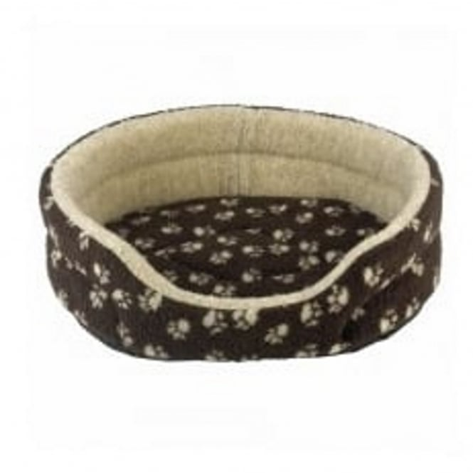 Snug & Cosy Verona Oval Brown with Cream Paw Pet Bed