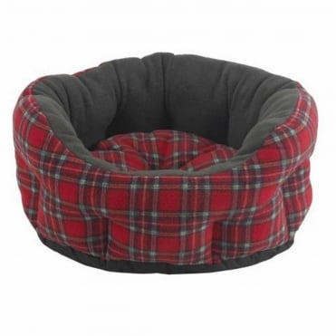 Verona Oval Red Tartan Pet Bed