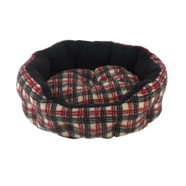 Verona Oval Tartan Print Pet Bed